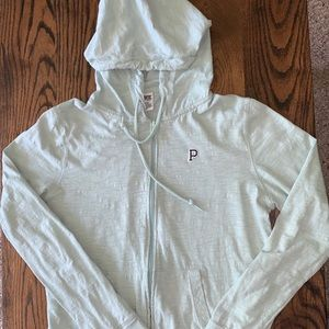 Baby blue PINK Victoria's Secret zip-up sweatshirt